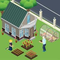 Pensioners Garden Work Isometric Illustration Vector Illustration