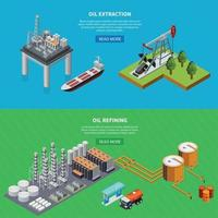 Oil Industry Banners Set Vector Illustration