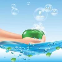 Soap Bubbles Aloe Background Vector Illustration