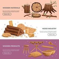 Ilustración de vector de banners de industria de madera