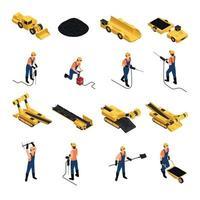 Coal Mining Isometric Icons Vector Illustration