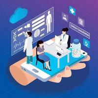 Mobile Health Glow Isometric Composition Vector Illustration