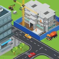 Urban Construction Isometric Composition Vector Illustration