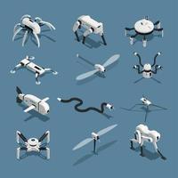 Bio Robots Isometric Icons Vector Illustration