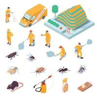 Isometric Pest Control Set Vector Illustration