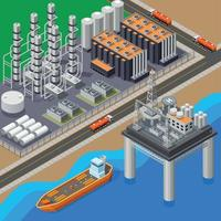 Oil Isometric Composition Vector Illustration