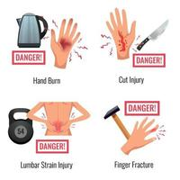 Injury Warning Flat Compositions Vector Illustration