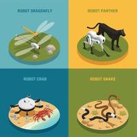 Bio Robots Isometric Design Concept Vector Illustration