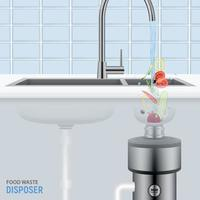 Sink With Food Waste Disposer Vector Illustration