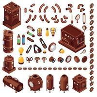 Steampunk Isometric Constructor Vector Illustration