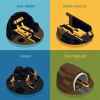 Coal Mining Isometric Design Concept Vector Illustration