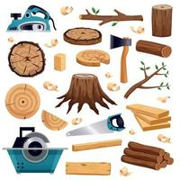 Wood Industry Flat Set Vector Illustration