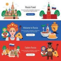 Rusia viajes banners vector illustration