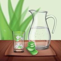 Detox Aloe Drink Composition Vector Illustration