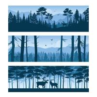 Realistic Forest Landscapes Horizontal Banners Vector Illustration
