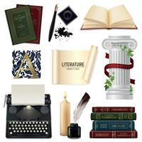 Realistic Literature Objects Set Vector Illustration