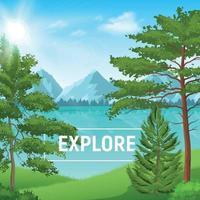 Realistic Pine Forest Sunny Landscape Vector Illustration