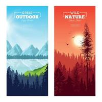 Realistic Pine Forest Vertical Banners Vector Illustration