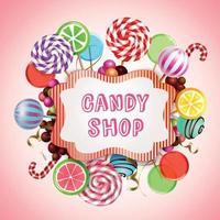 Ilustración de vector de composición de fondo de tienda de dulces