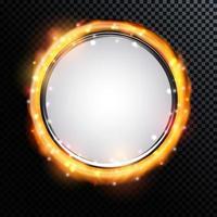 Abstract Golden Shiny Fire Frame vector