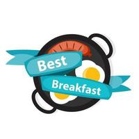 Breakfast Scrambled Eggs with Sausage Icons in Modern Style vector