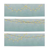 Beautiful Greeting Card or Banner Set with String Lights vector