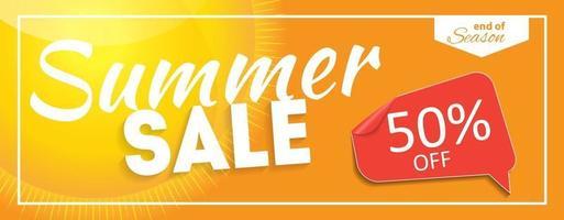 Venta de verano banner de fin de temporada. tarjeta de descuento comercial. ilustración vectorial vector