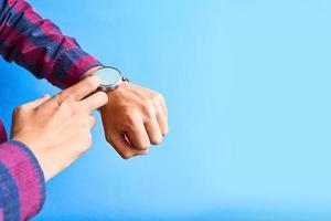 Man wear smart watch in everyday lifestyle. photo