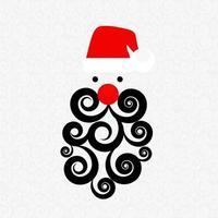 Santa with Swirl Beard on Abstract Pattern vector