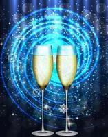 Dos copas de champán o bebida espumosa sobre fondo de estrellas vector