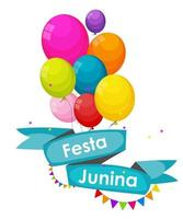 Festa Junina Holiday Background. Traditional Brazil June Festival Party. Midsummer Holiday. Vector illustration with Ribbon, Balloon