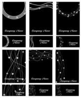 Abstract Luxury Black Diamond Business Card Set Templates Vector Illustration