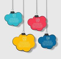 Hanging Cloud Infographic Template with Place for your Text vector