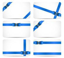 Gift Card Set with Blue Ribbon and Bow. Vector illustration