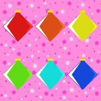 Set of six colored isolated flat Christmas toys square shape on a pink starry background. vector