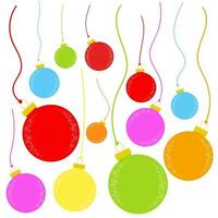 Flat colored set of isolated Christmas toys in the form of balls on thin ropes. Simple design for processing. vector