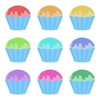 Set of flat colored isolated cakes drizzled with glaze. The striped baskets. Delicious color on a white background vector