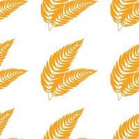 Patrón transparente de color de hoja naranja aislada abstracta plana curvándose en diferentes direcciones vector