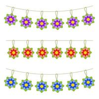 Set of flat colored isolated garlands of flowers. Suitable for design. vector