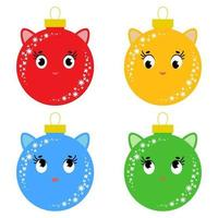 Set of flat colored isolated Christmas balls in the shape of balls. Cartoons cats. Simple design on a white background vector