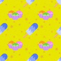 Colored seamless pattern delicious pastries, and blue Popsicle with the glaze. Simple flat illustration on yellow background with orange stars vector
