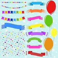 Set of flat colored isolated balloons on ropes and garlands of flags. A set of ribbons of banners of different shapes. Background in the form of confetti. vector