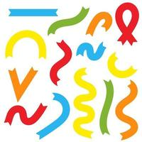 Set of flat colored isolated ribbons. Suitable for design. vector