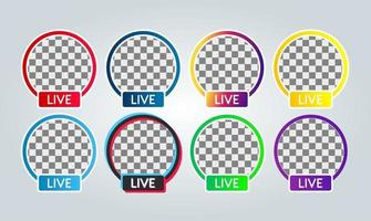 set of various Social media facebook, instagram, youtube, tiktok, twitter, live streaming badge icon for profile photo or avatar vector