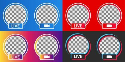 set of colorful live streaming badge or frame for social media webinar, video live, education and more vector