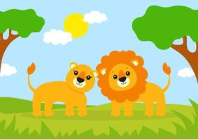 Cute lion and lioness. Wild animal. Cartoon character. Colorful vector illustration. Isolated on color background. Design element. Template for your design, books, stickers, cards.