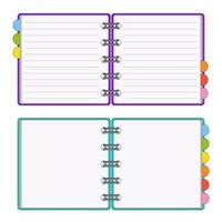 Open notepad for notes. Subject in the office, at home. Vector illustration isolated on white background.