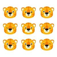 Cute tiger. Wild animal. Cartoon character. Colorful vector illustration. Isolated on white background. Design element. Template for your design, books, stickers, cards.