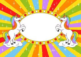 Two cute unicorns reared up. Cartoon style. Color bright illustration. With place for your text. For circus advertisements, advertising. vector