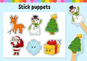 Stick puppets. Activity Game for kids. Cute characters. Cartoon style. Christmas theme. Color vector illustration.